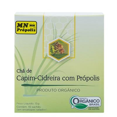 Caixa Chá de Capim-Cidreira com Própolis Orgânico 10 Sachês (15g) - MN Própolis