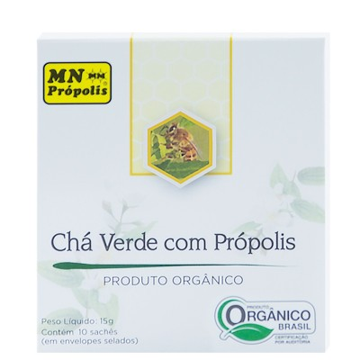 Caixa Chá Verde com Própolis 10 Sachês (15g) - MN Própolis