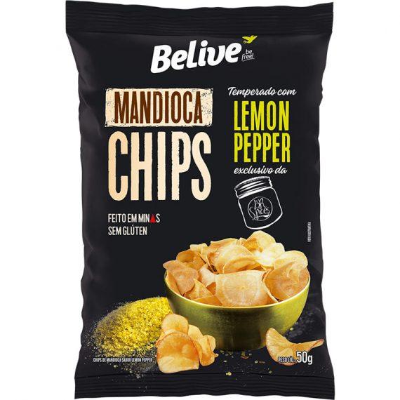 CHIPS DE MANDIOCA COM LEMON PEPPER (50g) - BELIVE