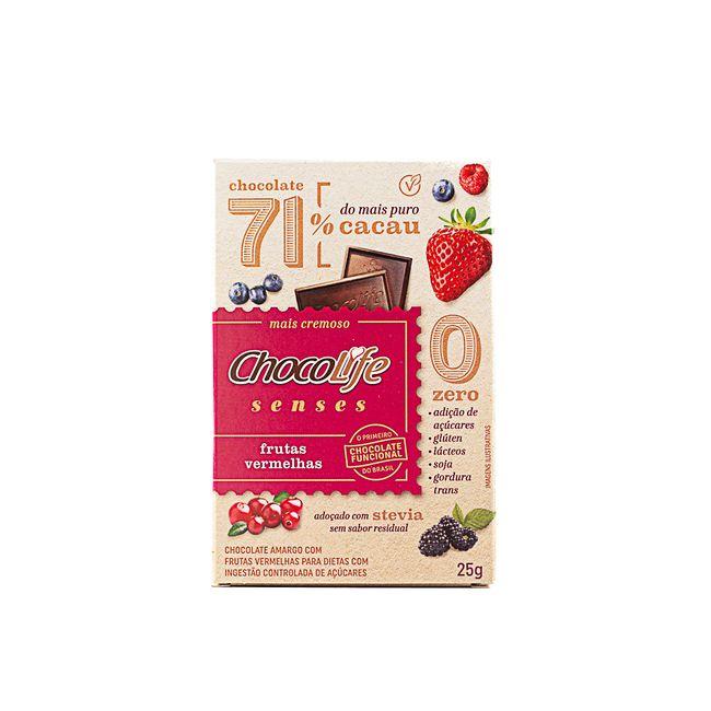Chocolife Senses 71% Cacau Frutas Vermelhas (25g) - Chocolife