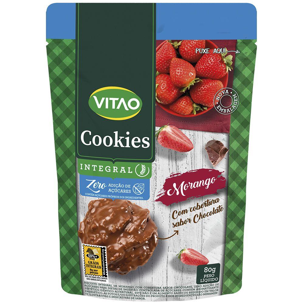 Cookies Zero Morango Coberto Chocolate (80g) - VITAO