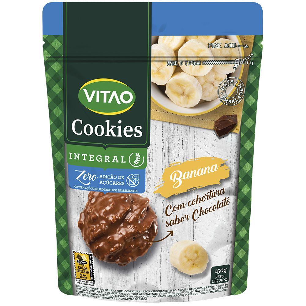 Cookies Zero Banana Coberto Chocolate (80g) - VITAO