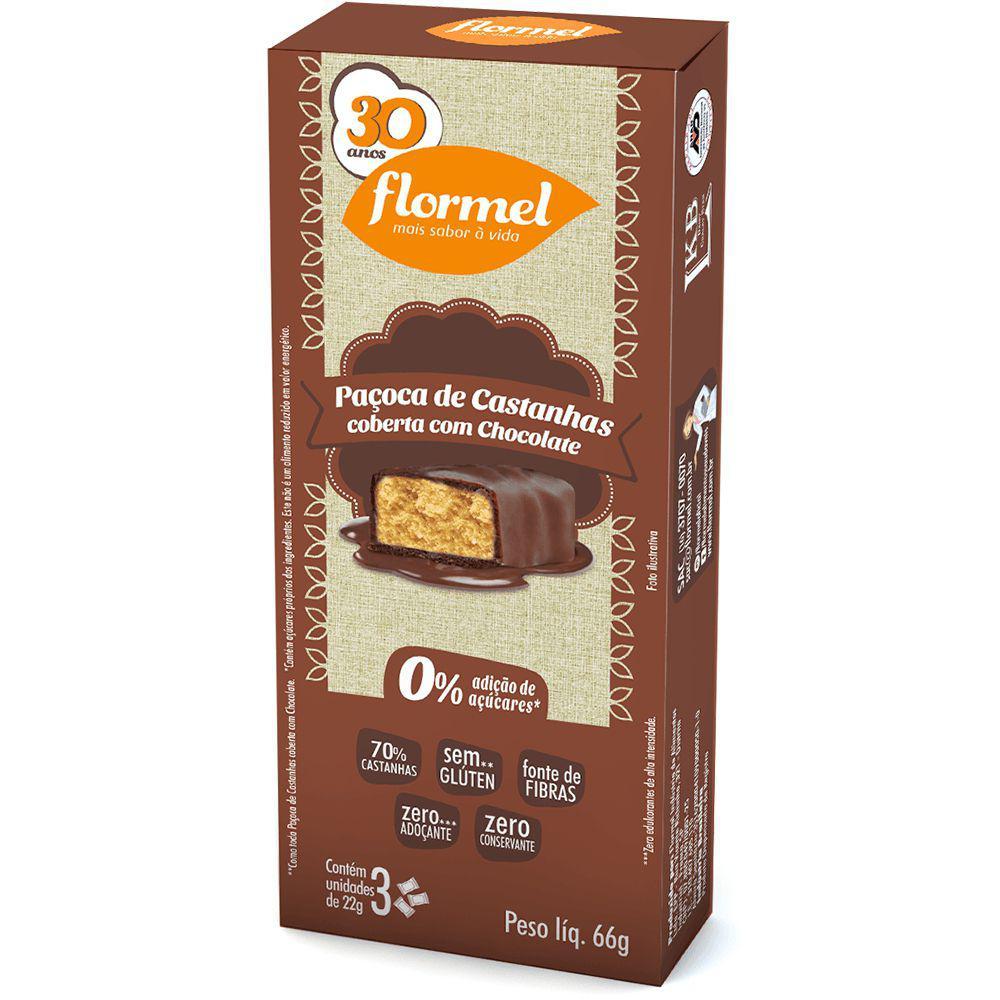 Doces Paçoca Castanha e Chocolate Zero (caixa 3 unidades) - Flormel