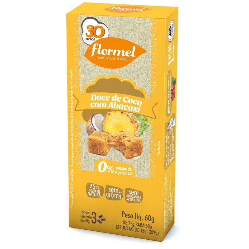 Doces Pedaços Coco com Abacaxi Zero - 3 unidades - Flormel