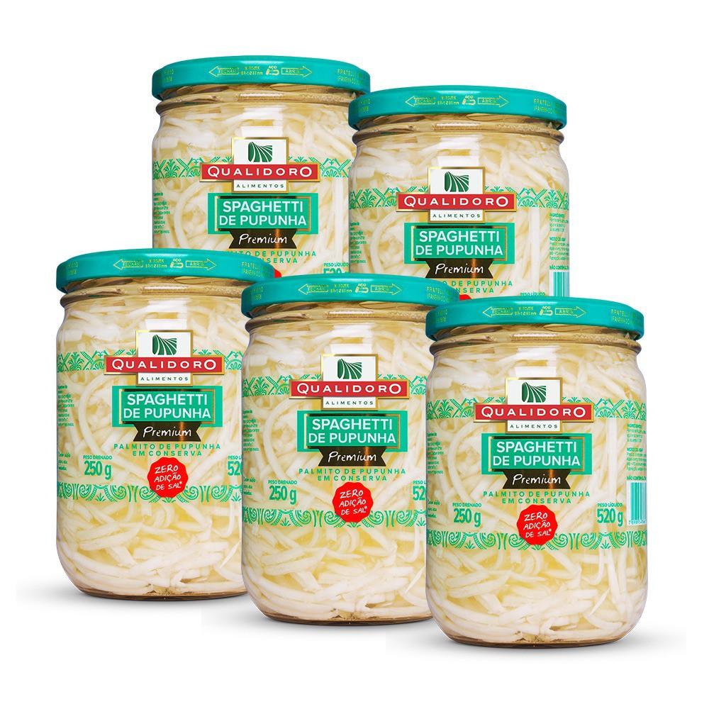 Kit 5 Espaguetes de Palmito Pupunha Premium Zero (520g) - Qualidoro