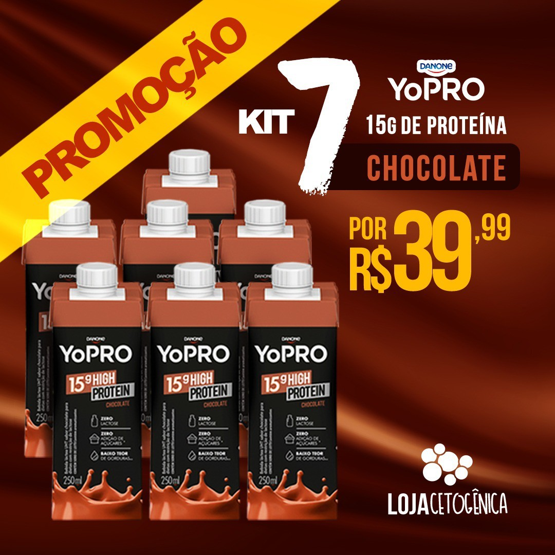 Kit 7 YoPRO 15g de Proteína Sabor Chocolate (250ml) - Danone