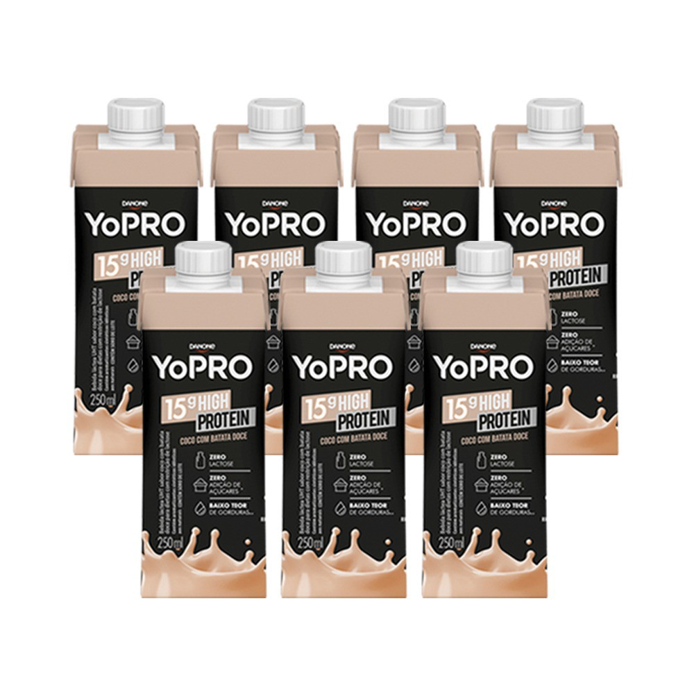 Kit 7 YoPRO 15g de Proteína Sabor Coco com Batata-Doce (250ml) - Danone