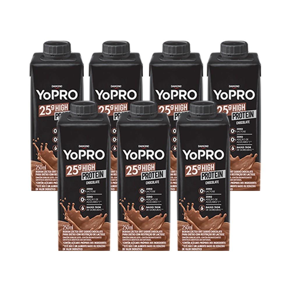 Kit 7 YoPRO 25g de Proteína Sabor Chocolate (250ml) - Danone