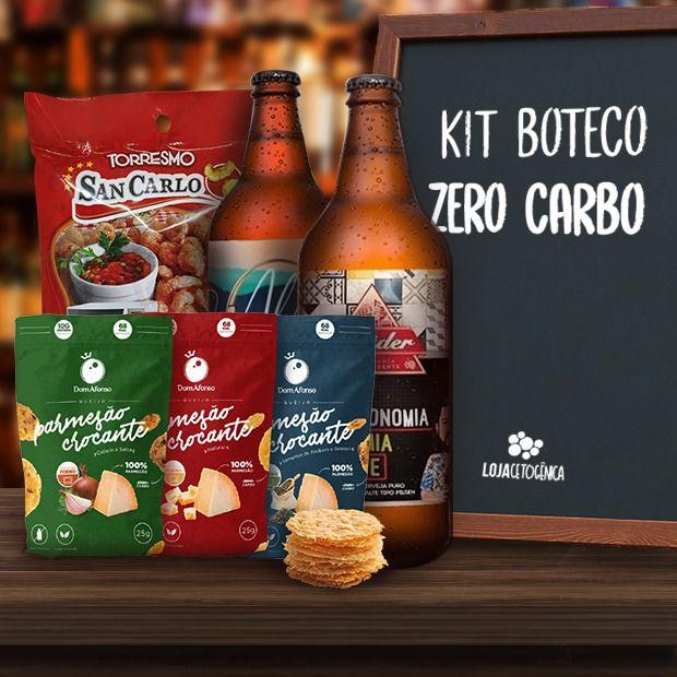 Kit Boteco Zero Carbo - Cerveja Zero + PARMESÃO + Pururuca