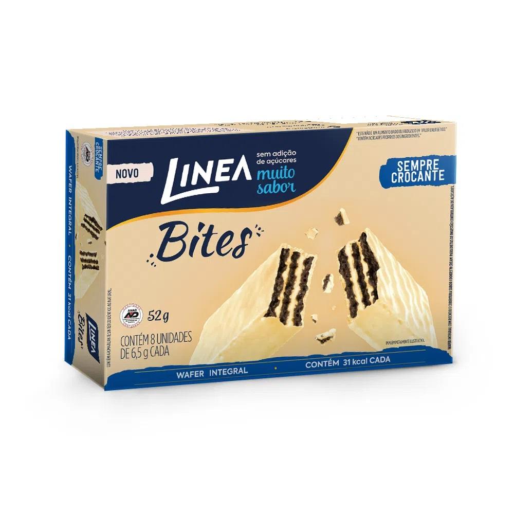 Linea Bites Mini Wafer Integral Cookies'N Cream (Caixa com 8 Unidades) 52g - Linea