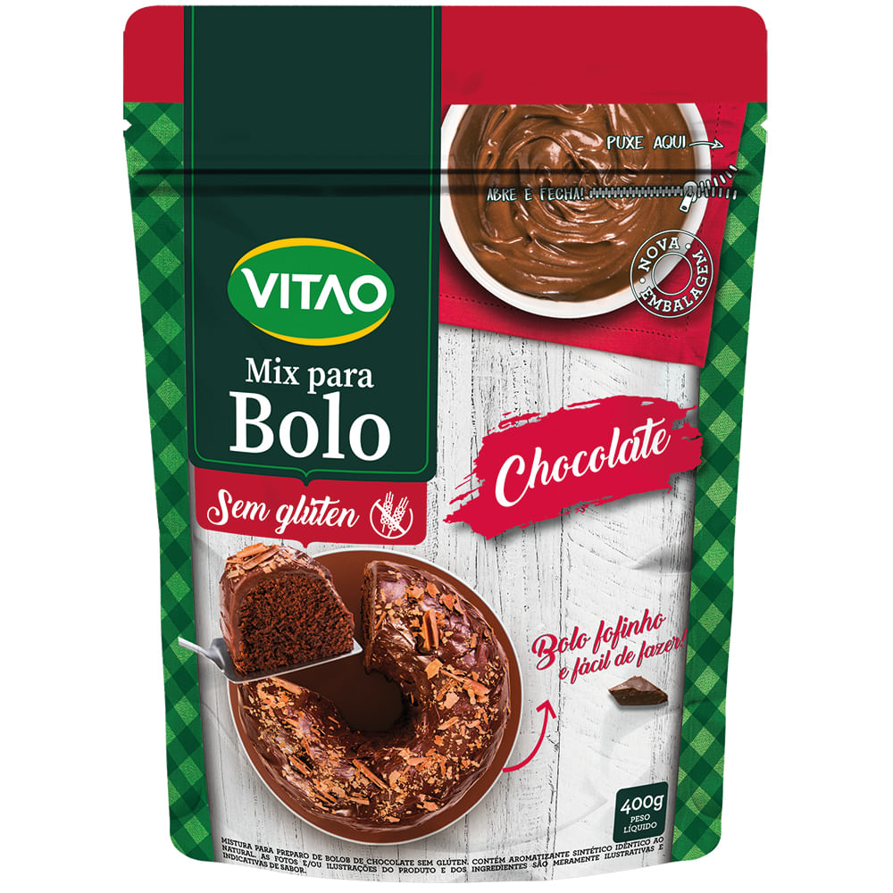 Mix Para Bolo Sem Glúten Chocolate (400g) - VITAO