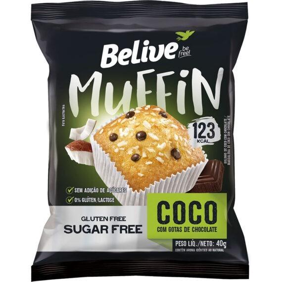 MUFFIN COCO COM GOTAS DE CHOCOLATE SEM AÇÚCAR (40g) - BELIVE