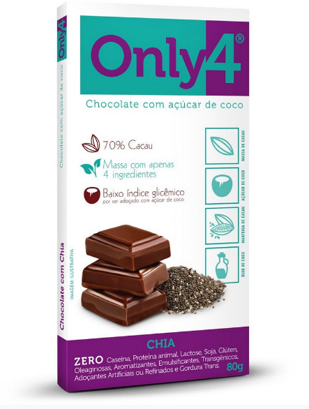 Only4 Chocolate com Açúcar de Coco Sabor Chia 80g