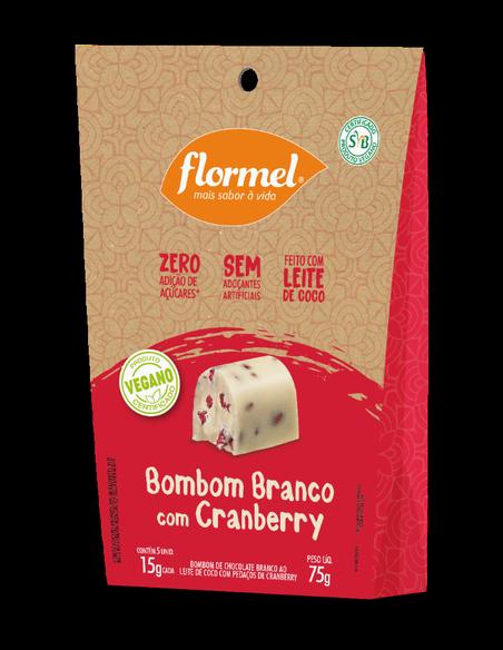 Pacote 5 unidades Bombom Branco com Cranberry (75g) - Flormel
