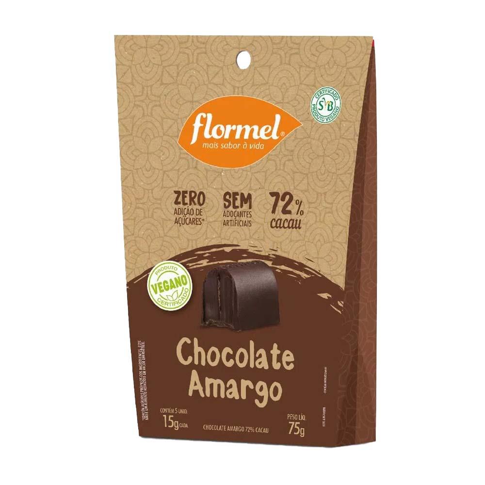 Pacote 5 unidades Bombom Chocolate Amargo 72% (75g) - Flormel