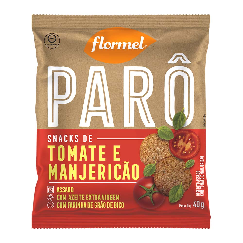 Parô Snacks de Tomate e Manjericão (40g) - Flormel
