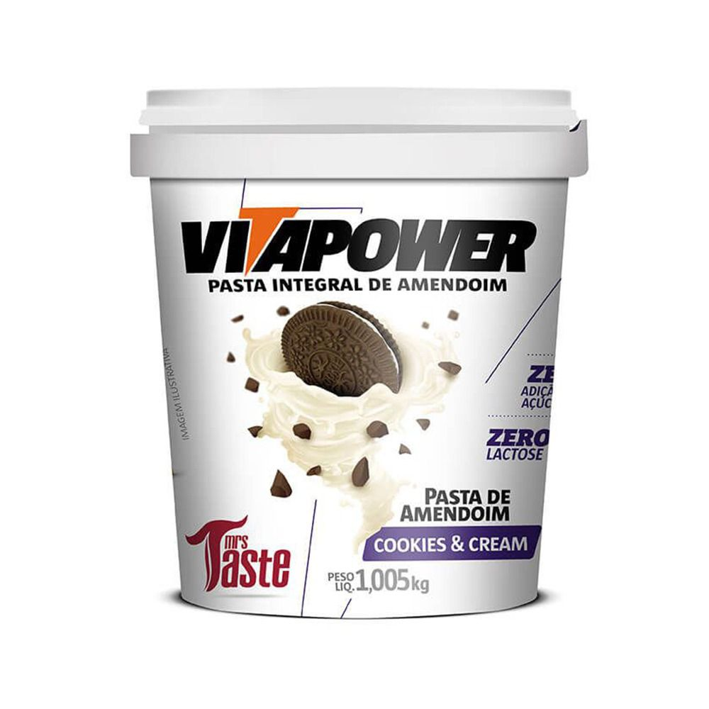 Pasta de Amendoim Cookies & Cream (1,005kg) - VitaPower