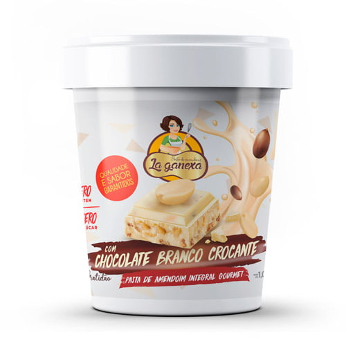 Pasta de Amendoim Integral Gourmet Com Chocolate Branco Crocante (450g) - La ganexa