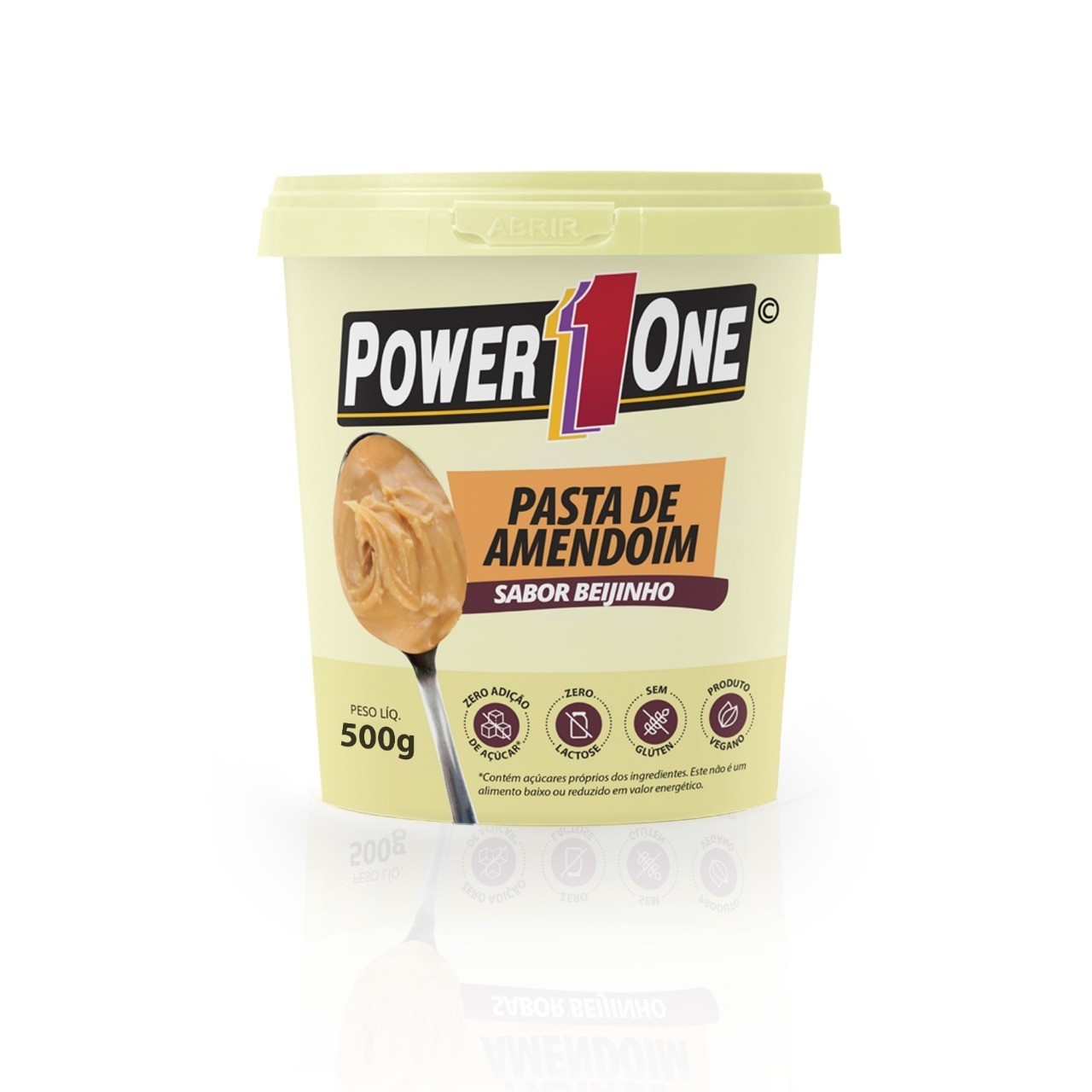 Pasta de Amendoim Sabor Beijinho (500g) - Power1one