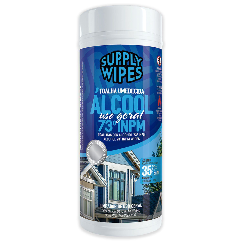 Pote 35 Toalhas Umedecidas Álcool Uso Geral - Supply Wipes