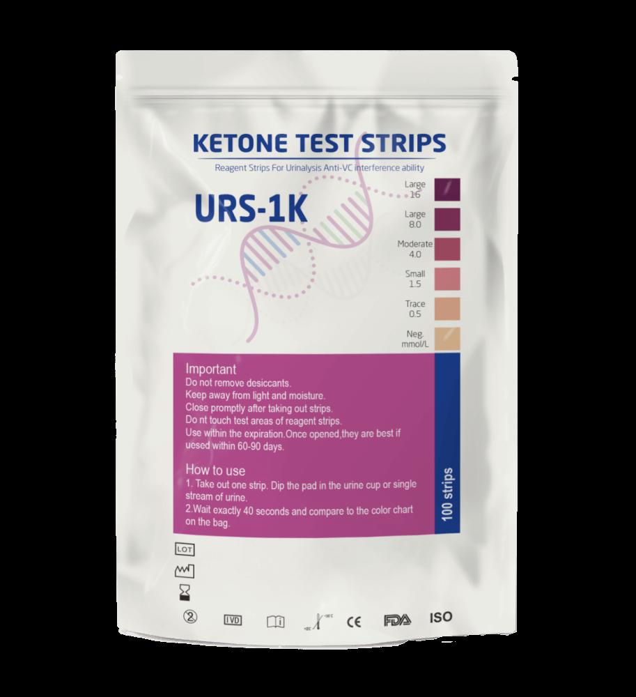 Tira Fita Teste de Cetose Urina Cetona URS-1K - 100 unidades