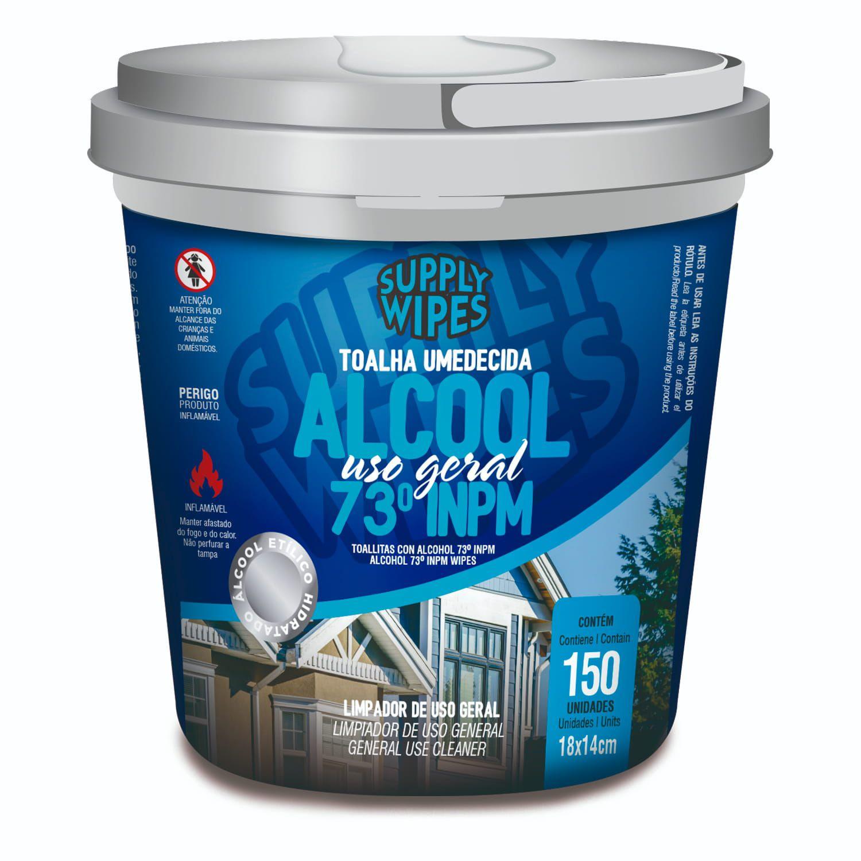 Balde 150 Toalhas Umedecidas Álcool Uso Geral - Supply Wipes