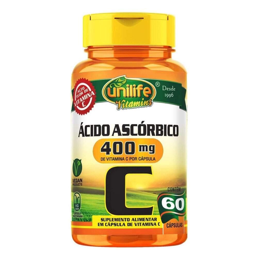 Vitamina C Ácido Ascorbico 750MG (60 Cápsulas) - Unilife