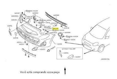 Guia Parachoque Dianteiro Esquerdo Nissan March Original
