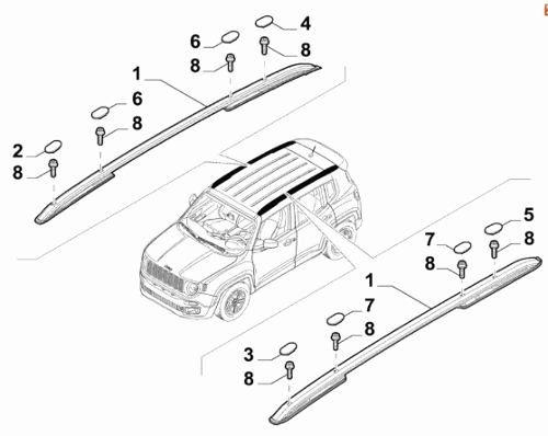 Kit Rack Longitudinal Jeep Renegade 2015 16 17 18 19 Original