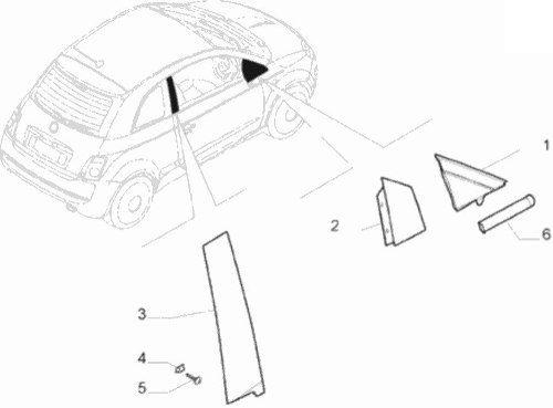 Moldura Vidro Retrovisor Esquerdo Fiat 500 2010 2011 Origina