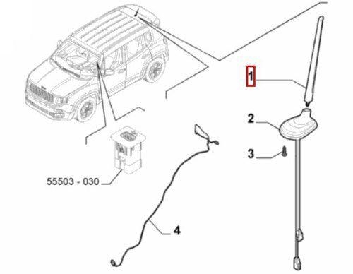 Haste Antena Teto Jeep Renegade 2015 2016 2017 2019 Original