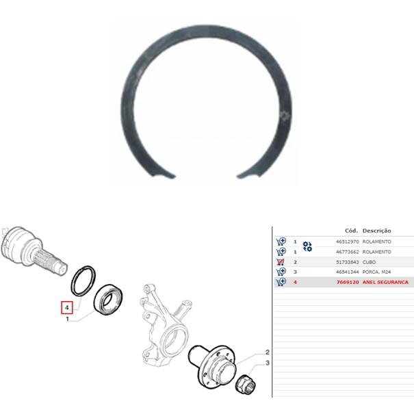 Anel Trava Rolamento Roda Palio Argo Strada 2020 Original