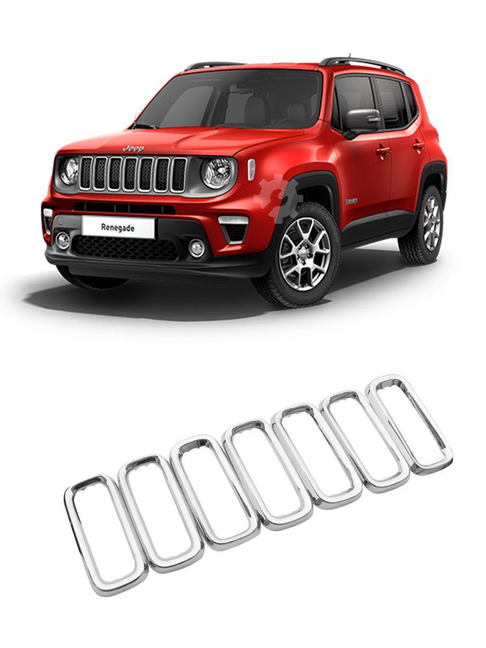 Aplique Aro Cromado Grade Dianteira Jeep Renegade 2019 2020