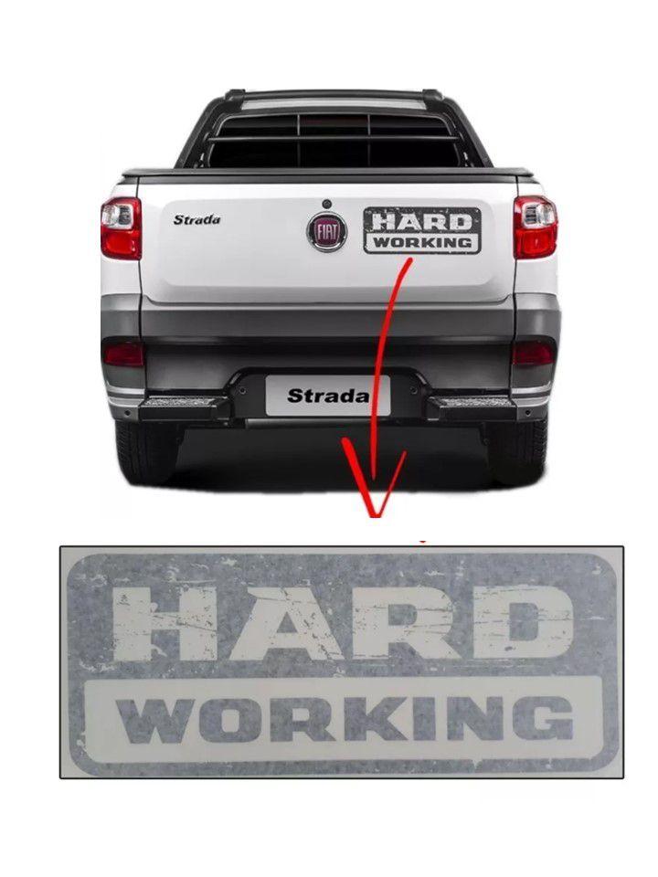 Emblema Adesivo Hard Working Fiat Strada 13 14 18 Original