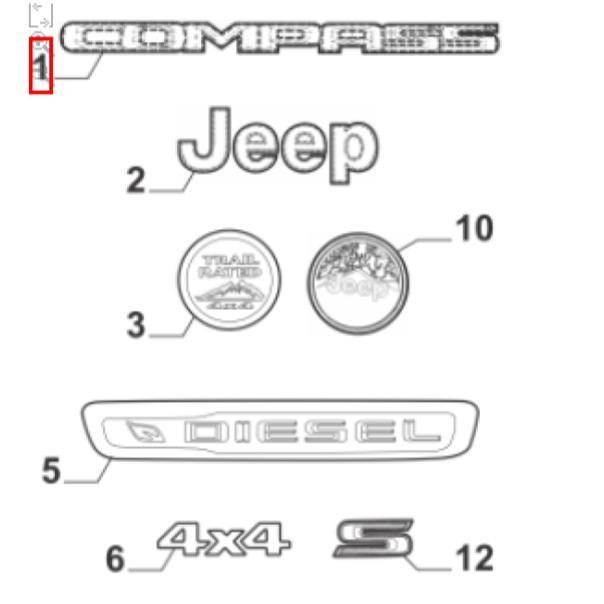 Emblema Lateral Direito Jeep Compass 2017 2019 Original