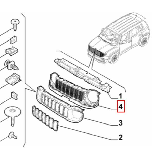 Grade Radiador Interna Jeep Renegade 2016 2017 2018 Original