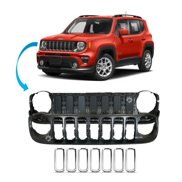 Kit Grade + Aro Cromado Jeep Renegade 2016 2017 2018 Original