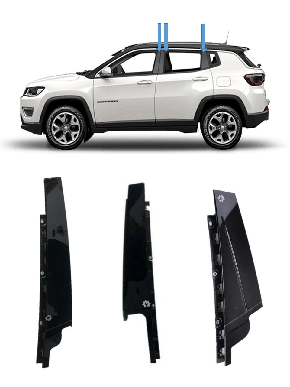 Kit Moldura Lateral Esquerda Porta Jeep Compass 17 19 Original