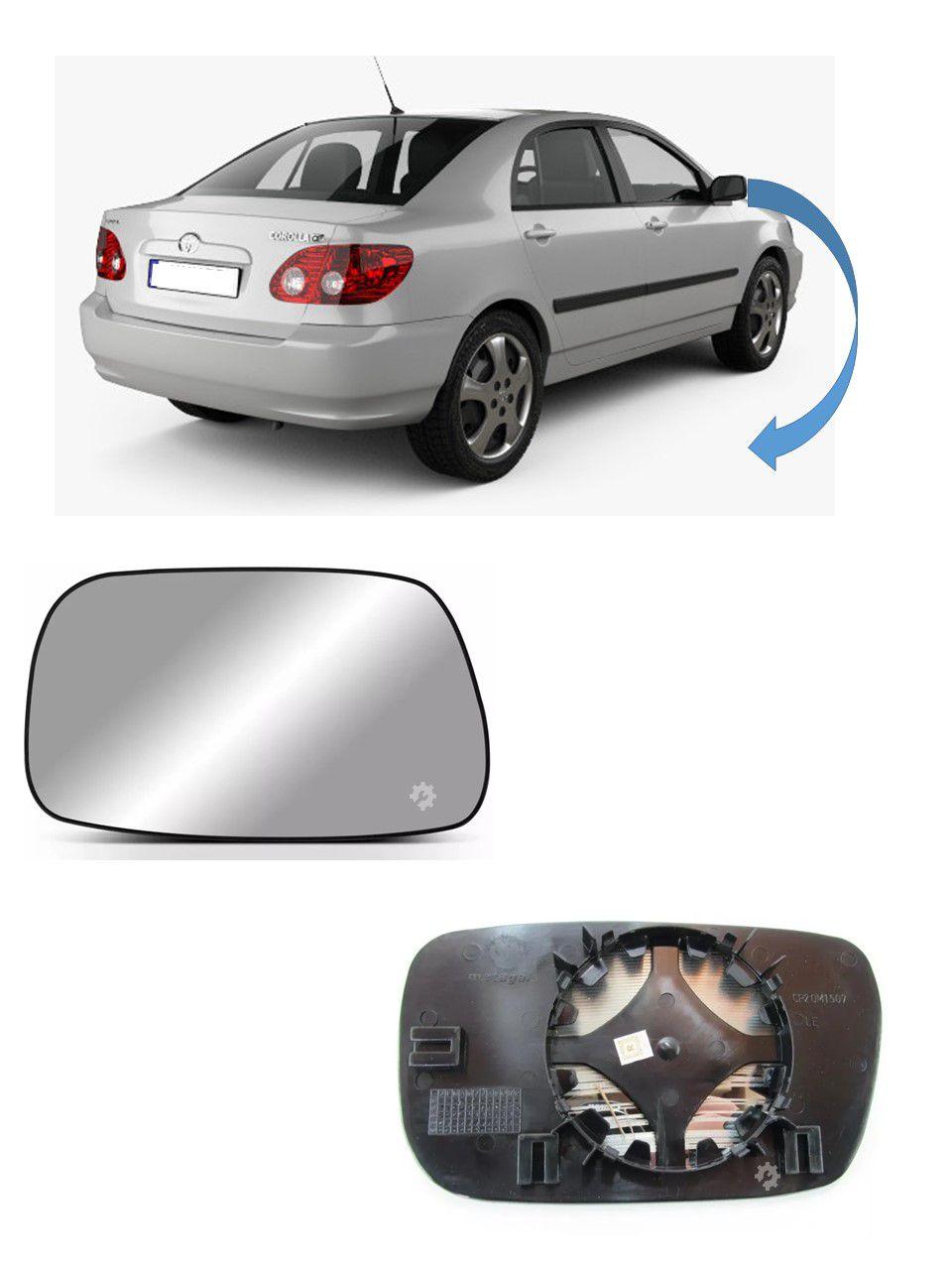 Lente base Retrovisor Direto Toyota Corolla 2002 2005 2007
