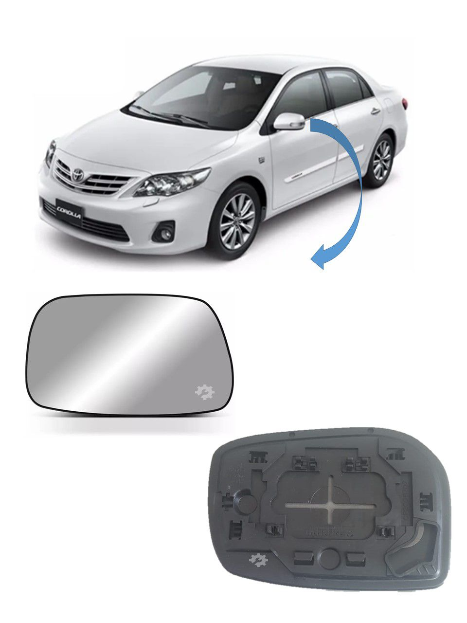Lente Vidro Base Retrovisor Esquerdo Toyota Corolla 2009 2014