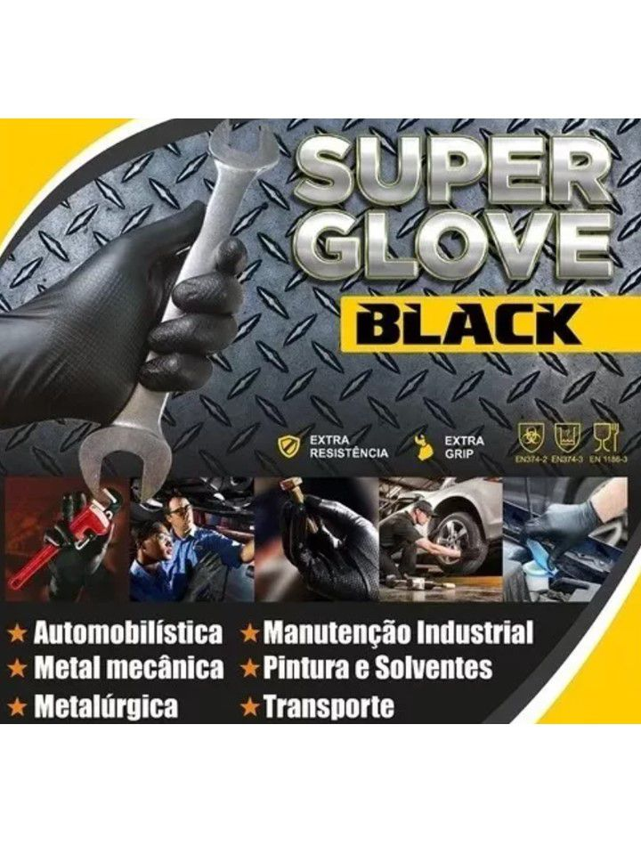 Luva Mecânica Super Glove Black Tamanho M impermeável Jahu