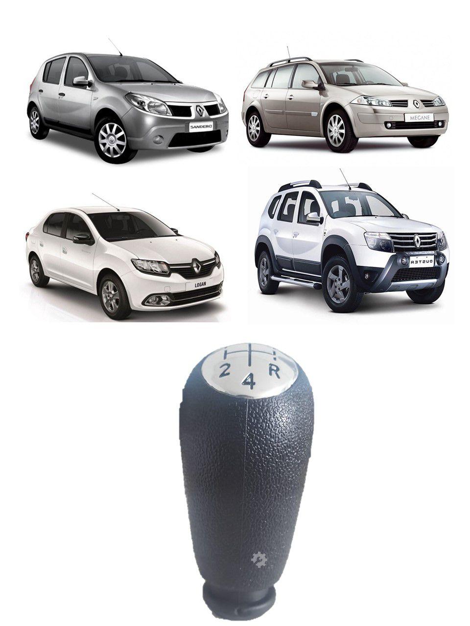 Manopla Cambio Cromado Renault Logan Sandero Megane Duster