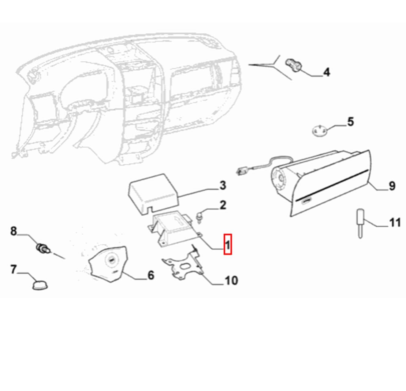 Modulo Central Airbag Palio Siena Strada 2013 2018 Original