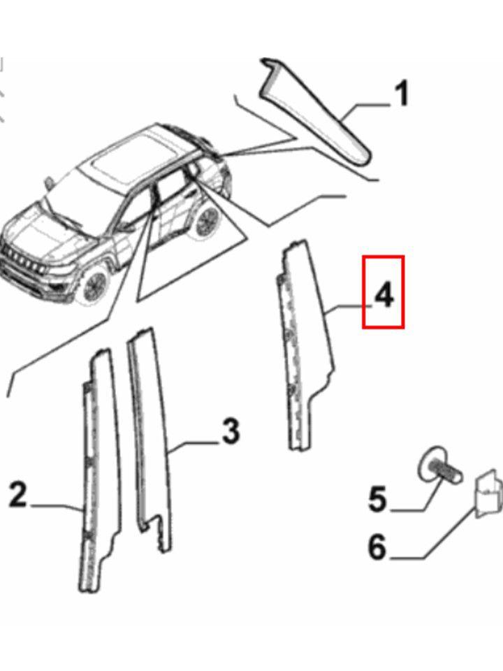 Moldura Lateral Esquerda Porta Traseira Jeep Compass 2017 2019 Original