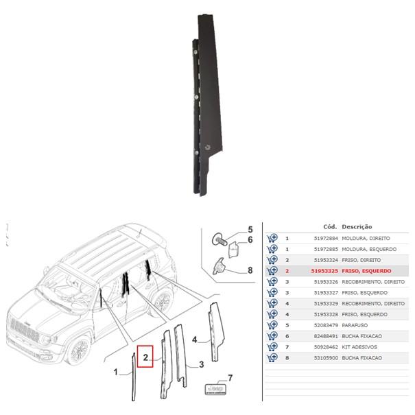 Moldura Porta Dianteira Esquerda Renegade 2015 2020 Original