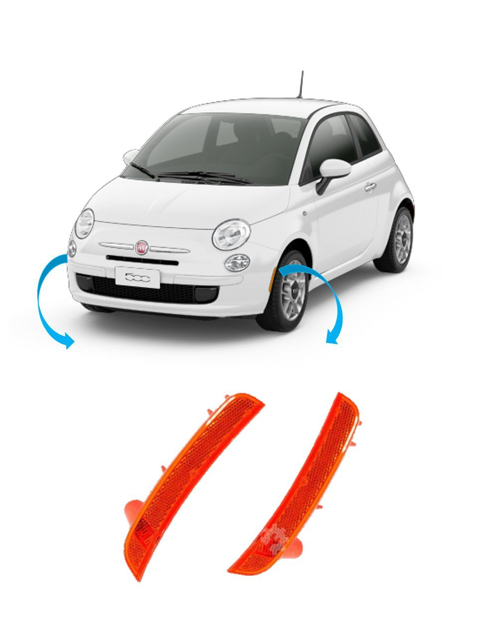 Par Lanternas Paralama Direita Esquerda Fiat 500 Original