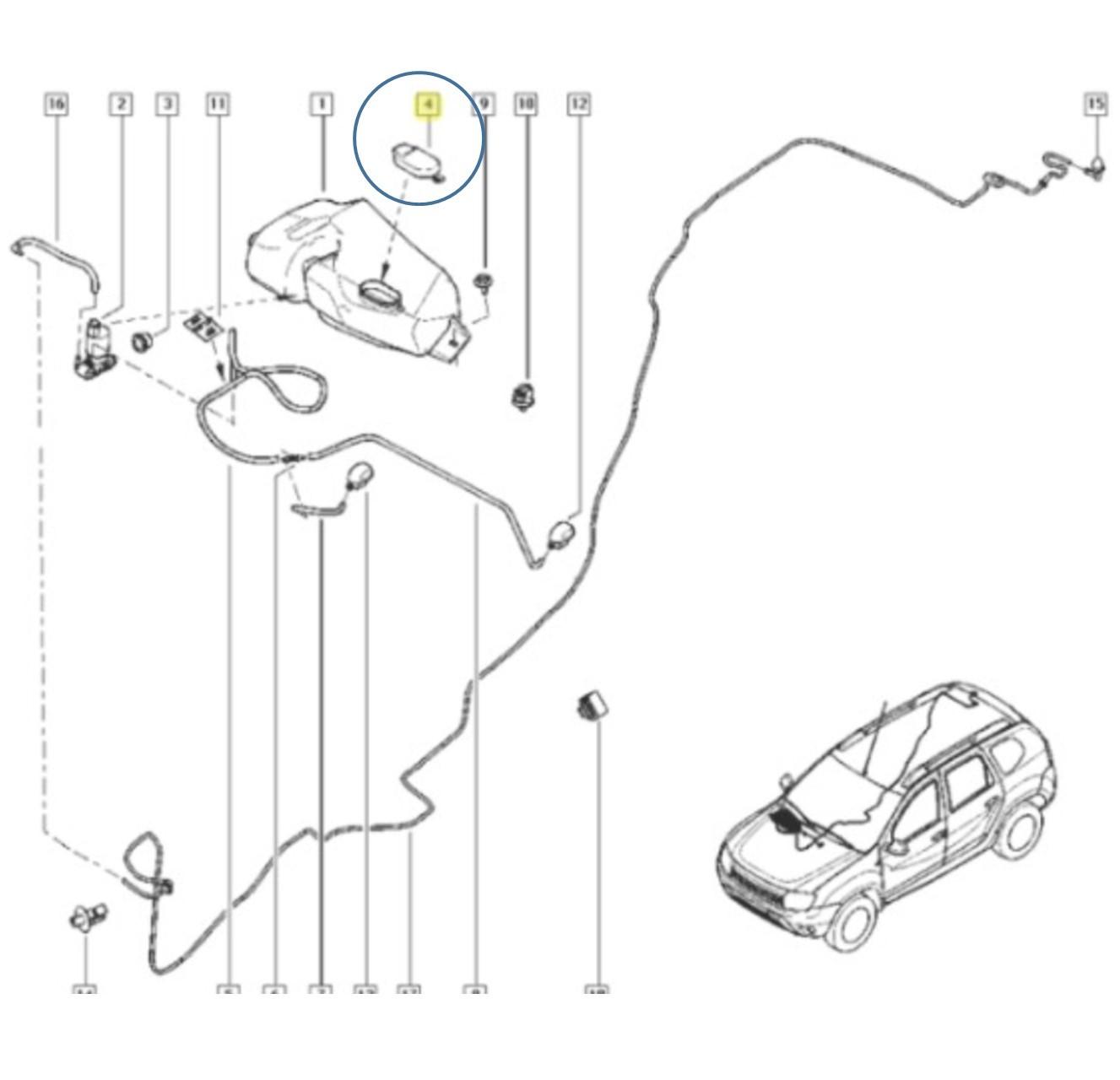 Tampa Reservatório Limpador Renault Sandero Clio Logan
