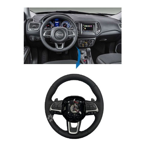 Volante Couro Paddle Shift Prata Jeep Compass 2017 2018 2020