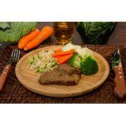 Carne assada ao molho especial, Arroz Integral com Brócolis, Mix de Legumes