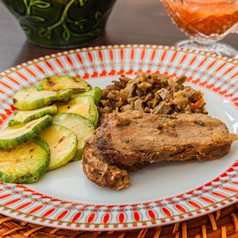 Carne Assada ao Molho Especial, Escabeche de Berinjela, abobrinha Grelhada
